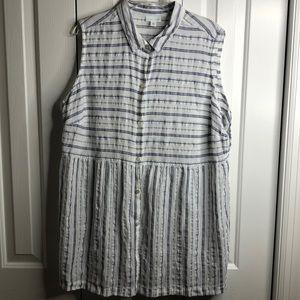 J Jill 2X blue and white striped sleeveless tunic